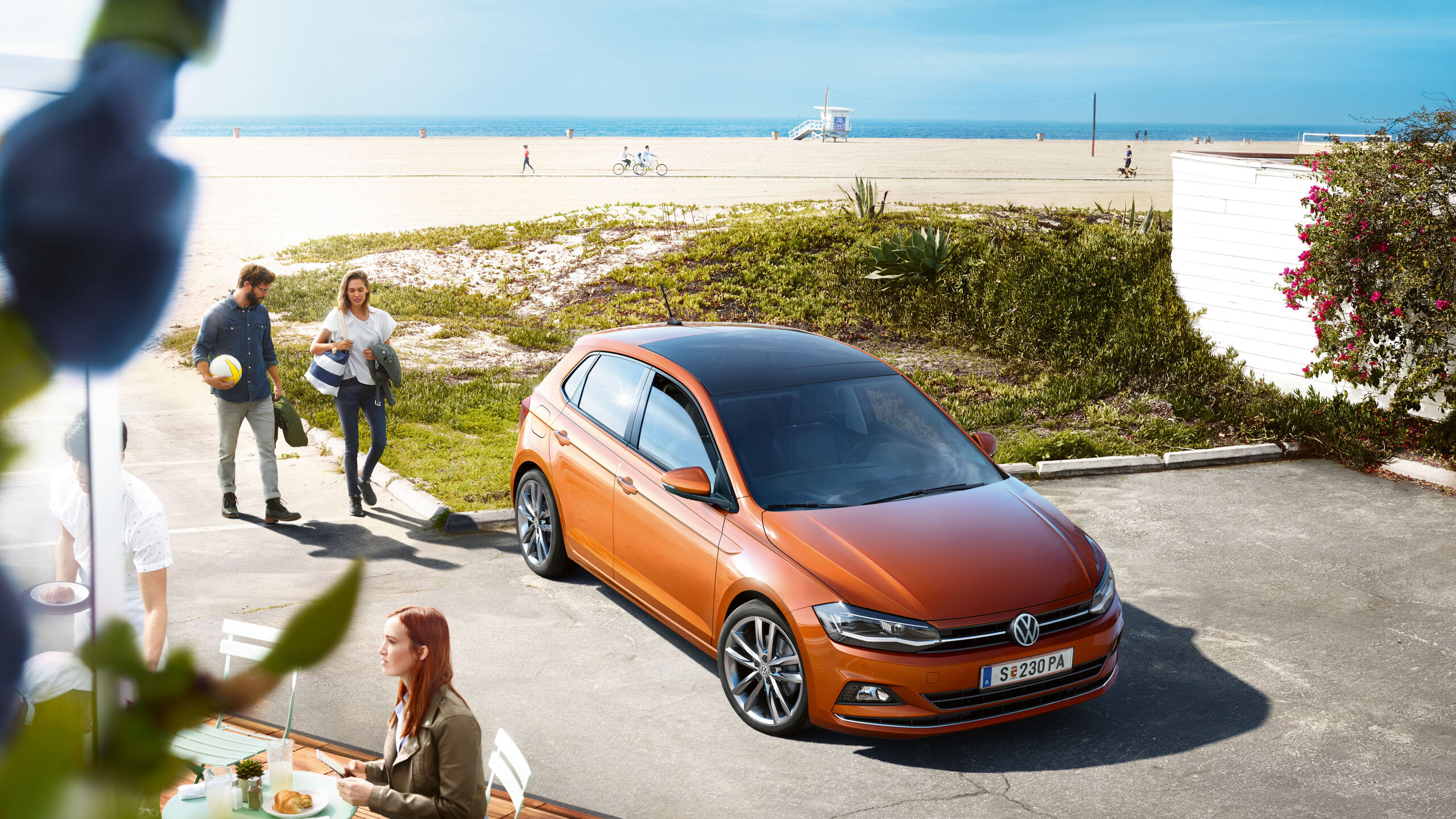 vw volkswagen polo orange aussen